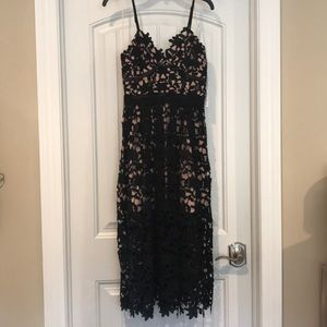 ***NWT***black lace overlay midi dress